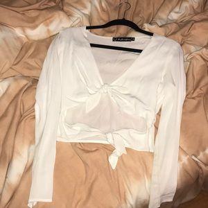 For love & lemons white crop tie top